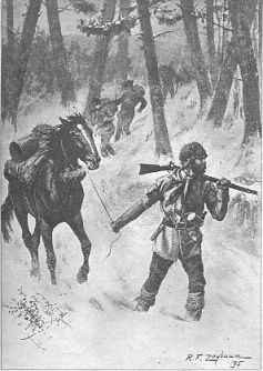 Frontispiece to Episodes from Winning of the West: Trappers and Hunters, drawn by R. F. Zogbaum