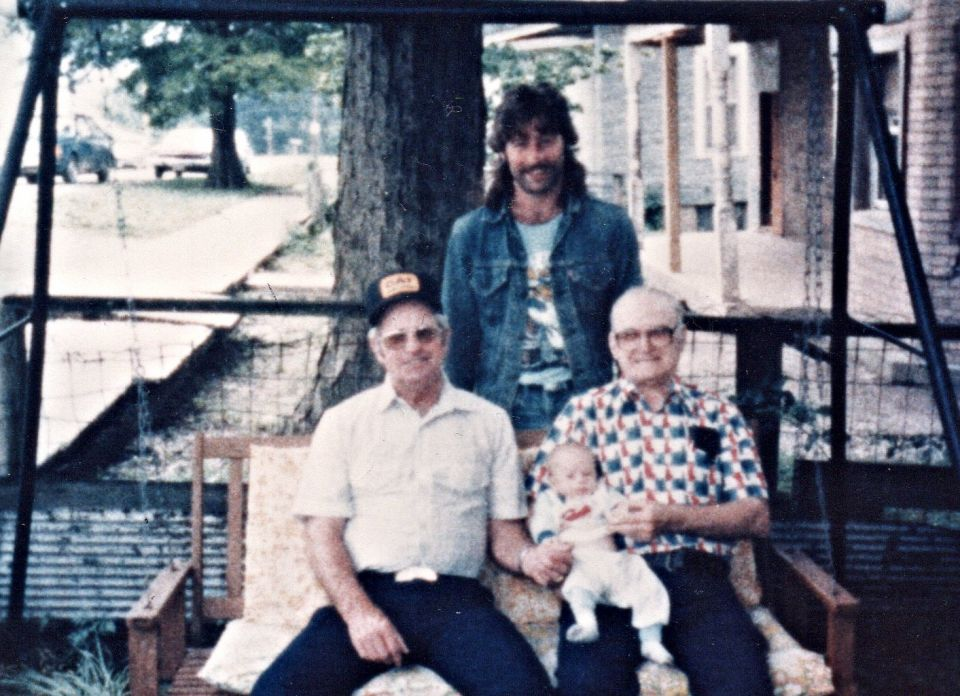 A Four generation picture; Standing in back is Steve Mansker and L to R sitting is Steve's Dad Bill Mansker and Bill's Dad Gordon Clair Mansker and the little one is Steve Mansker's son Jacob Mansker. Picture was taken in Thebes Illinois at the home of Thelma (Adams) Caldwell