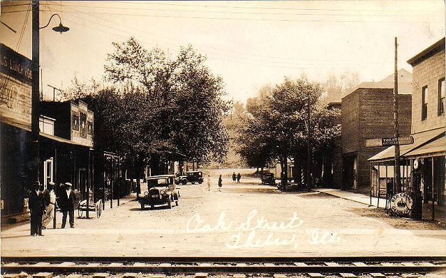 Oak Street in Thebes, Illinois