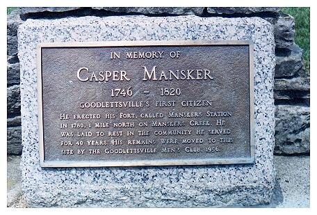 Plaque on Kasper Mansker's Grave
