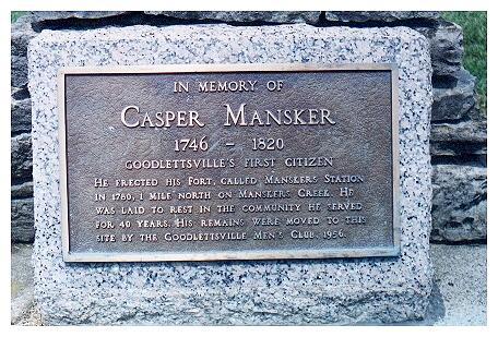 Plaque on Kasper Mansker's Grave