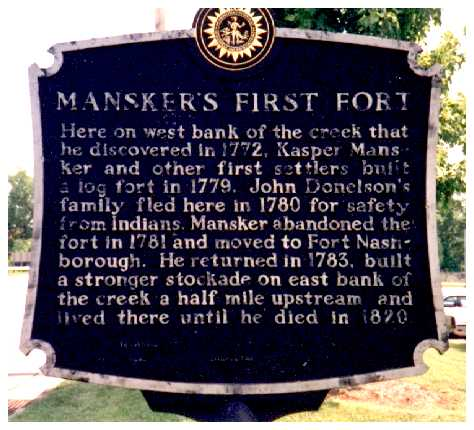 Tennessee Historical Marker, Mansker Creek, Goodlettsville.