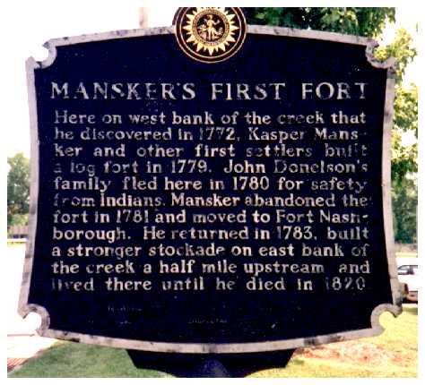 Tennessee Historical Marker, Mansker Creek, Goodlettsville.